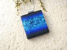 Shaded Blue Necklace Dichroic Necklace Dichroic by ccvalenzo