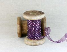 Plum Organza Polka Dot Ribbon, 10mm x 7m Ribbon, Craft Supplies £2.20