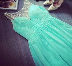 Charming Blue Chiffon Sweep Train A-line New Prom Dresses with Crystal, Lovely Blue Long Prom Dresses, Handmade Prom Dresses 2015, Evening Gown, Formal Dresses