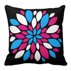 Hot Pink and Teal Flower Petals Art on Black Pillows