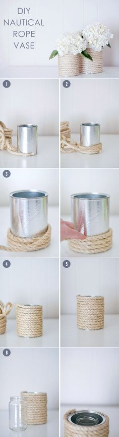 diy wedding flowers centerpiece ideas with nautical rope vases