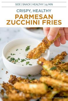 These crispy Garlic Parmesan Air Fryer Zucchini Fries are ready in just 15 minutes. This healthy air fryer recipe makes the best zucchini fries! They are loaded with flavor and make the perfect side or healthy snack! Easy Vegetable Side Dishes, Healthy Side Dishes, Healthy Eating Recipes, Side Dishes Easy, Healthy Eats, Healthy Snacks, Ww Recipes, Side Dish Recipes, Snack Recipes