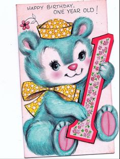 Vintage Blue Bear Holding ONE Happy Birthday Greeting Card | eBay