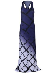 Ombre Maxi Racerback Dress - DEEP BLUE L