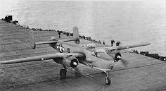 North American PBJ-1H traps (yes, really) aboard USS Shangri-La (CV-38) November 1944. Modified with a tailhook, the aircraft was used for suitability testing of large tricycle gear aircraft aboard ship.