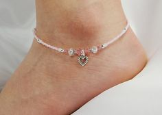 Anklet, Ankle Bracelet, Heart Dangle Charm, Rose Pink, Clear AB, Swarovski Crystal, Beaded, Customizable, Beach, Vacation
