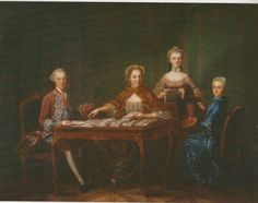 Empress Maria Theresa with Archduke Joseph and his wife Isabella of Parma and Archduchess Maria Christina 1763