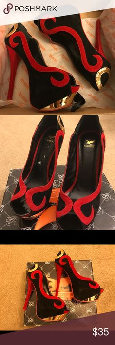 Shiekh Black/Red/Gold Velvet Heels Bought from Shiekh as is. Had them as an idea for a costume but never followed through. New with Box, Women's Size 9. Shiekh Shoes Heels
