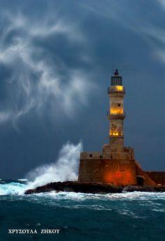 Chania Lighthouse Chania(second largest city of Crete ) Crete Greece 35.519482, 24.016929