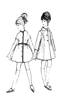 cool 1960s Colouring-In Fashion Line Drawings for Sewing Patterns