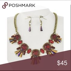"""Red Glass Ethnic Necklace Set Burnished Gold Tone / Red Glass / Lead&nickel Compliant / Fish Hook (earrings) / Statement / Necklace & Earring Set •   LENGTH : 17 1/2"""" + EXT •   EARRING : 1"""" •   DROP : 1 1/2""""  •   B.GOLD/RED R.E.A.L Jewelry Jewelry Necklaces"""