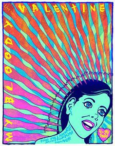 Original silkscreen concert poster for My Bloody Valentine at The Fillmore in Denver, CO in 2009. 20 x 26 inches. Signed and numbered limited edition of only 171 by artist Lindsey Kuhn.