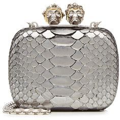 Alexander McQueen Embellished Python Clutch (9.075 RON) ❤ liked on Polyvore featuring bags, handbags, clutches, borse, silver, alexander mcqueen clutches, skull handbag, python handbags, alexander mcqueen handbags and white purse