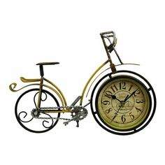 Fleur De Lis Living This clock brings style to your wall space. Place it in any room for instant personality and charm. Bicycle Clock, Desktop Clock, Tabletop Clocks, Industrial Table, Wall Spaces, Wood Colors, Yellow Black, Alarm Clock, Quartz