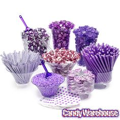 Designer Halloween Candy Buffet Kit: 25 to 50 Guests Bulk Candy, Candy Shop, Purple Candy Buffet, Halloween Candy Buffet, Rock Candy Sticks, Bar A Bonbon, Online Candy Store, Dots Candy, Wedding Candy