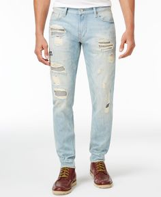 Guess Men's Slim-Fit Tapered Ripped Jeans