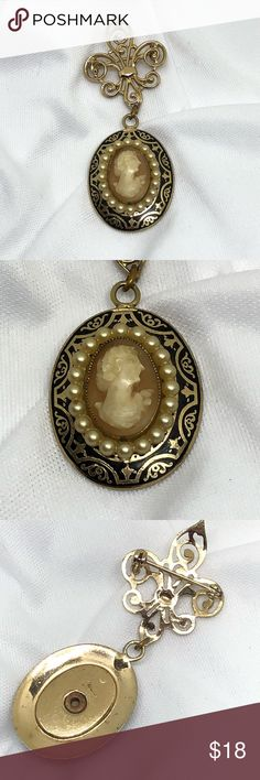 "🆕Vintage Coro Cameo Brooch A 1"" x 3/4"" Cameo by Coro, hung from a 1"" long fleur-de-lis Pin. It features black and gold enamel and seed pearls around a resin Cameo. It does show some signs of age, but is still a gorgeous piece and somewhat hard to find! Marked on the reverse as shown. A fabulous vintage find from an Estate collection. Vintage Jewelry Brooches"
