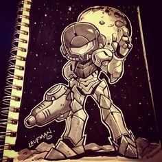 by Derek Laufman Cartoon Sketches, Art Sketches, Boba Fett Art, Cartoon Movie Characters, Character Art, Character Design, Drawing Superheroes, Chibi, Metroid