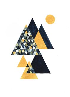 Mountain - Golden and Indigo Navy Blue - Triangle Triangular Geometry Geometrical Abstract Modern Watercolor Drawing Illustration Print