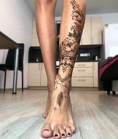 So schönes Ziertattoo! - diy tattoo images - Pin This Leg Sleeve Tattoo, Full Sleeve Tattoos, Sleeve Tattoos For Women, Full Leg Tattoos, Butterfly Leg Tattoos, Flower Leg Tattoos, Butterfly Mandala Tattoo, Floral Foot Tattoo, Dope Tattoos