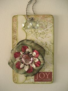 Joy Gift Tag - Green and red w/ FLower