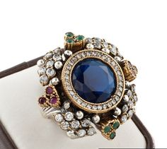 Turkish Ottoman Hurrem Sultan Flower Sapphire ring
