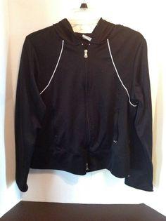 Athletic Works Black White Stripe Jacket Yoga Running Large Lightweight