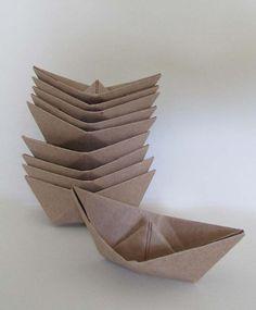 10 paper boat origami  kraft sail boats summer beach by shredlock