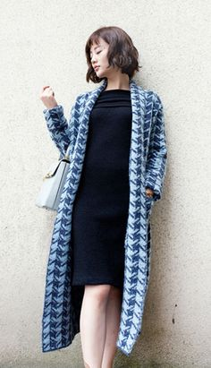Fashiontroy Hipster & indie long sleeves blue hound's tooth pocket cotton blend long cardigan