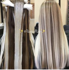 🌟Process and Results💕Weave and Paint Bright White Blonde and Tan👸🏼 Toned Multidimensional ✨PaintedHair✨ Melt. Hair Color Balayage, Hair Highlights, Haircolor, Balayge Blond, Love Hair, Gorgeous Hair, Damp Hair Styles, Long Hair Styles, Blonde Hair Looks