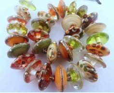 PT Handmade Lampwork Glass Olive Topaz Apricot  SRA  #SRAOOAKHandmadeLampwork #Lampwork