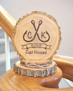 Rustic Wedding Cake Topper, Fisherman Topper, Fishing Wedding Cake Topper,  Wood Cake Topper