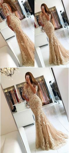 mermaid champagne prom party dresses with appliques low back, modest evening gowns with short sleeves, elegant gowns for special occasion.