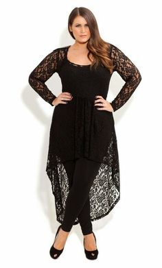 City Chic 'Lace Armour' High/Low Tunic (Plus Size) available at curvy pose Curvy Fashion, Plus Size Fashion, Girl Fashion, Fashion Outfits, Womens Fashion, Petite Fashion, Style Fashion, Dress Fashion, City Chic