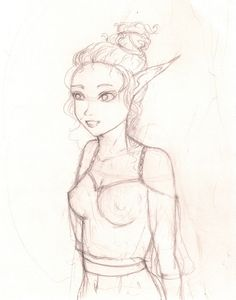 Sweet elf sketch. https://www.facebook.com/rysunki.nierealistyczne.dorkaart/