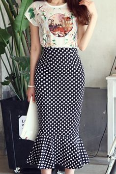 Elegant Women's Printed Blouse and Ruffled Polka Dot Skirt Suit