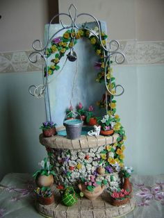 Telhas de Barro Diy And Crafts, Arts And Crafts, Paper Crafts, Diy Y Manualidades, Fairy Furniture, Fairy Garden Houses, Ceramic Houses, Wishing Well, Miniture Things