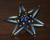 Antique blue gold Mercury Glass Beaded Czech Bohemian Russian Blue blue Christmas STAR Ornament