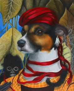 """what an amazing composition, this is still my favourite   Frida Kahlo Inspired, Jack Russell Dog, Whimsical, Monkey, 24"""" x 36"""" Signed Print by Clair Hartmann"""