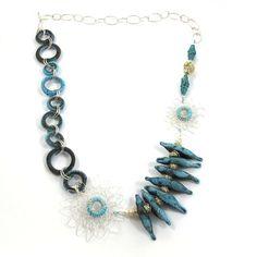 Handcrafted Glass Necklace, Love birds, OOAK