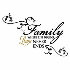 """Vinyl wall decal set provides a sweet sentiment with, """"Family - where life begins love never ends."""" Wall lettering is customizable to fit your space and resembles hand painting. Family Poems, Family Quotes, Family Signs, Vinyl Quotes, Wall Quotes, Sign Quotes, Qoutes, Great Quotes, Love Quotes"""