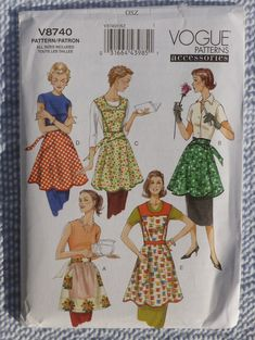 Vogue Patterns Accessories Retro Half and Full Aprons Pattern V8740 - All Sizes in One Envelope. $8.50, via Etsy.
