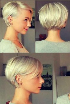 Kort blond haar - New Make Up İdeas Short Hairstyles For Women, Pretty Hairstyles, Straight Hairstyles, Layered Hairstyles, Hairstyle Ideas, Short Thin Hair, Short Hair Cuts, Blonde Short Hair Pixie, Short Bob Bangs