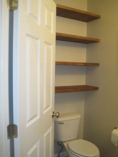 """For my 1/2 Bath Downstairs and in the Master Bath """"Cubby Hole"""". Eventually :)    Designed To Dwell: Adding Storage In A Tiny Bathroom"""