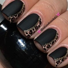 Matte Black Mani with Animal Print Accents