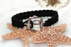 Anchor Bracelet Black Square Knot Cuff Style by thejewelryhutch