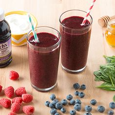 Purple Sunshine Smoothie: Rise and shine with a purple smoothie packed with frozen raspberries, grape juice, and spinach!