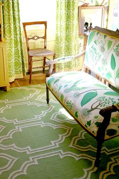 Green as a neutral + mix of pattern via apartment therapy.