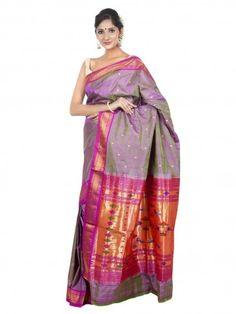 Mauve #Paithani saree with traditional pallu.