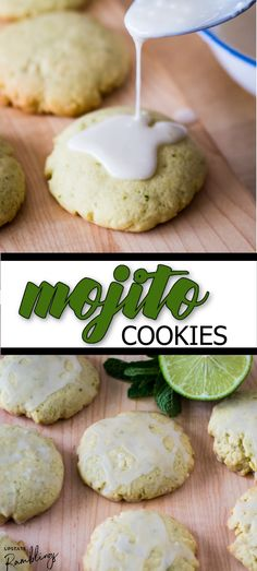 A classic cocktail in cookie form! Made with fresh mint, lime and rum, these sugar cookies are perfectly soft and chewy, with a delicious taste of the tropics. Roll Cookies, Yummy Cookies, Sugar Cookies, Easy To Make Desserts, Unique Desserts, Cookie Recipes, Dessert Recipes, Homemade Cookies, Classic Cocktails